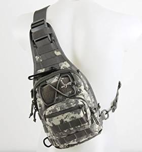 Canis Latran 1000D Cordura Tactical Sling Bag Pack Single Shoulder Backpack ACU Camouflage Color, Tactical Shoulder Backpack, Military & Sport Bag Tactical Sling Pack Daypack for Camping, Hiking