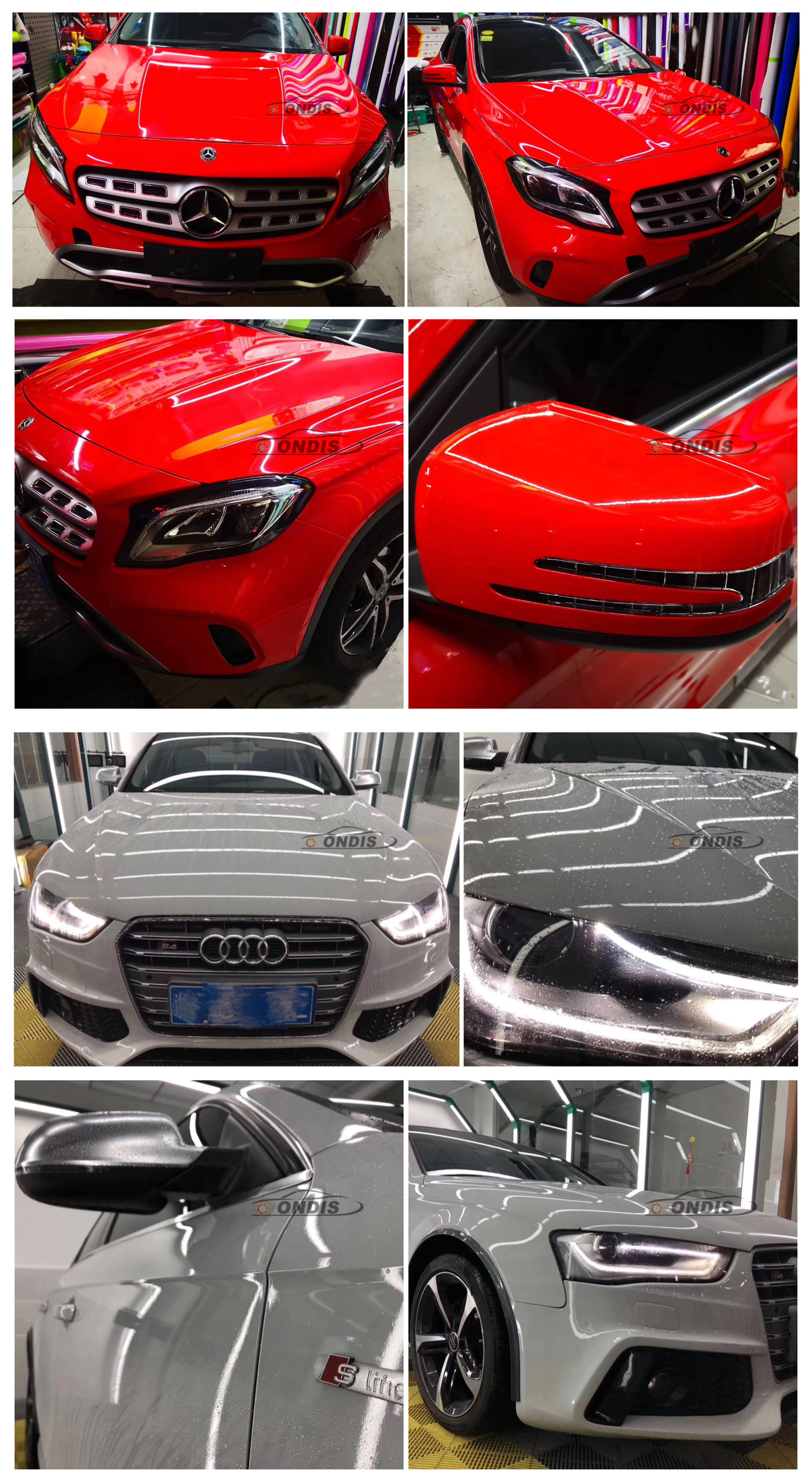 Super Quality 1.52*18m Red High Glossy Crystal Car Vinyl Wrap
