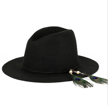 China wholesale women black wool hat fedora with tassel