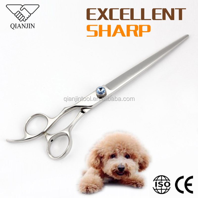 Offset Ergonomic handle Pet Grooming Shears for dog and cat hair cutting with Diamond adjustable screws