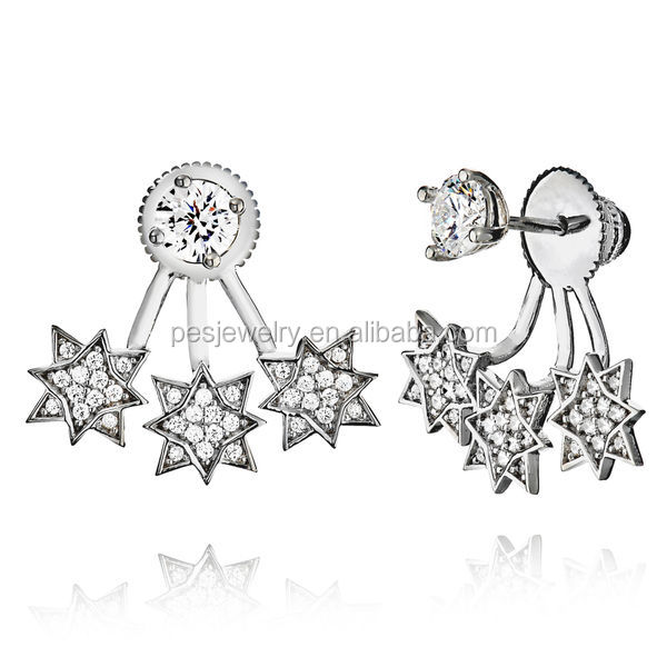PES Fashion Jewelry! Triple Star Cubic Zirconia Ear Jacket Two Ways Ware Stud Earrings (PES9-1332)