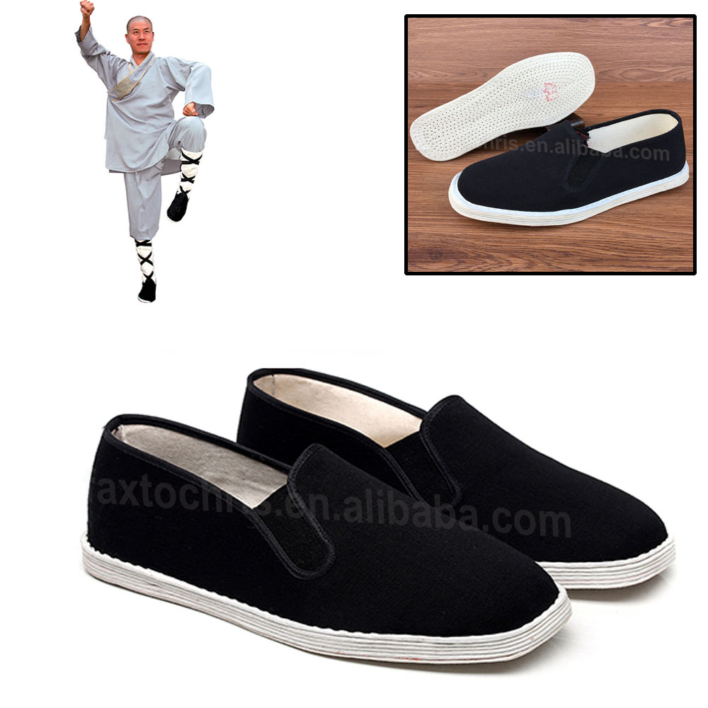 Classical black rubber kung fu shoes supplier