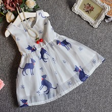 2016 Summer Fancy Fashion Chiffon  Baby Girls Dress Cute Cat Print Sleeveless Dress Girls Sundress Children Dress Clothes 2-6T