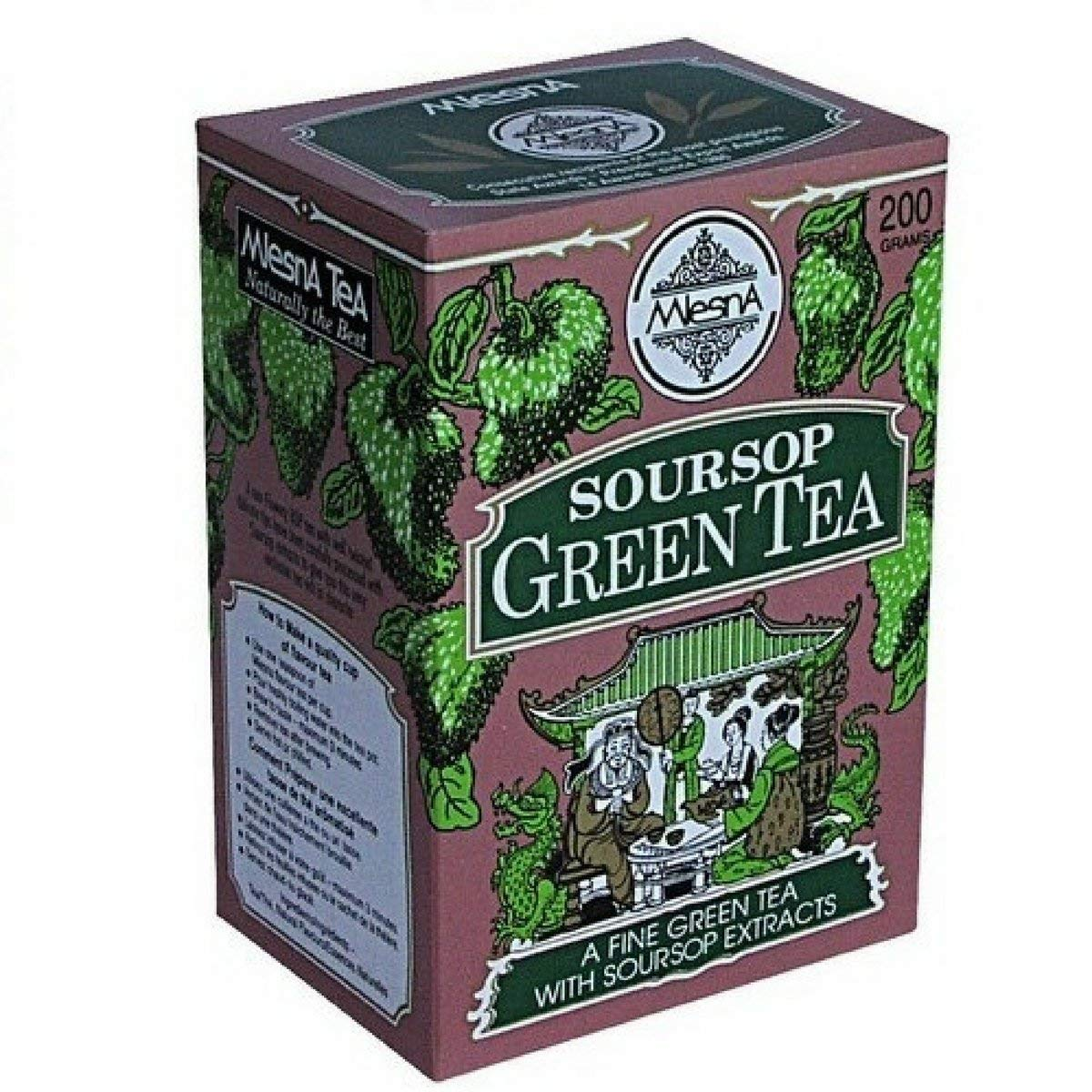 Mlesna Graviola Soursop Green Tea - Pure Ceylon Sri Lanka Fine Green Tea with Soursop Graviola Guanabana Extract - Loose Leaf Tea and Tea Bags - (Loose Tea (7 oz))