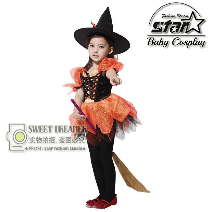Girls Halloween Costumes Black Witch font b Dress b font Hat Set Spirit Cosplay Stage Wear