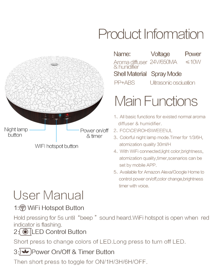 Smart Essential Oil Diffuser voice app diffuser With Alexa Google Home Assistant And Turn On Off By Echo