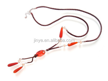 Fashion Simple Design Bohemian Agate Gemstone Long Necklace