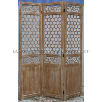 Ancient China Style 3 Panel Wooden Screen Room Dividers Antique Divider Carved Wood