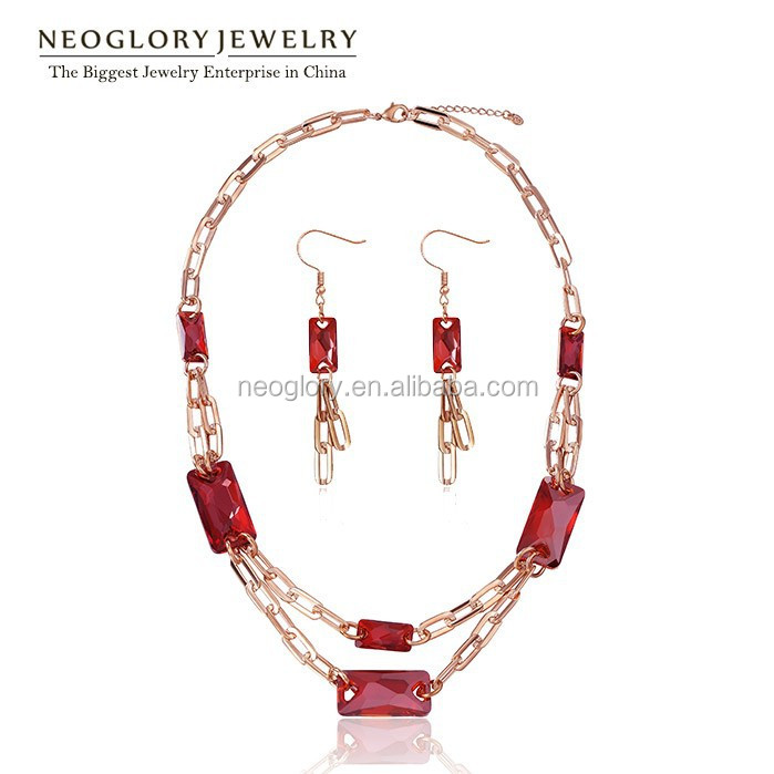 Neoglory Austrian Crystal Gold Plated Adjustable Lobster Clasp Closure Jewelry Set