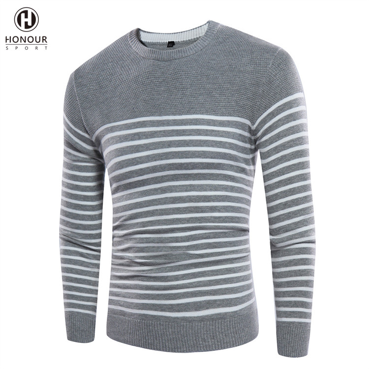 Factory Wholesale New Winter Men's Fashion Casual Striped Pullover Slim Warm Knitted Sweater