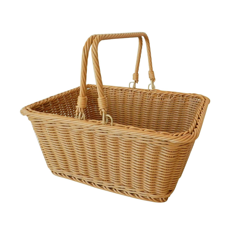 "CVHOMEDECO. Rectangular Imitation Rattan Storage Basket Shopping Basket Market Basket with Swimming Handle Resin Wicker Picnic Basket. Light Brown. 13-1/2"" X 10-1/2"" X 6-1/4""H"