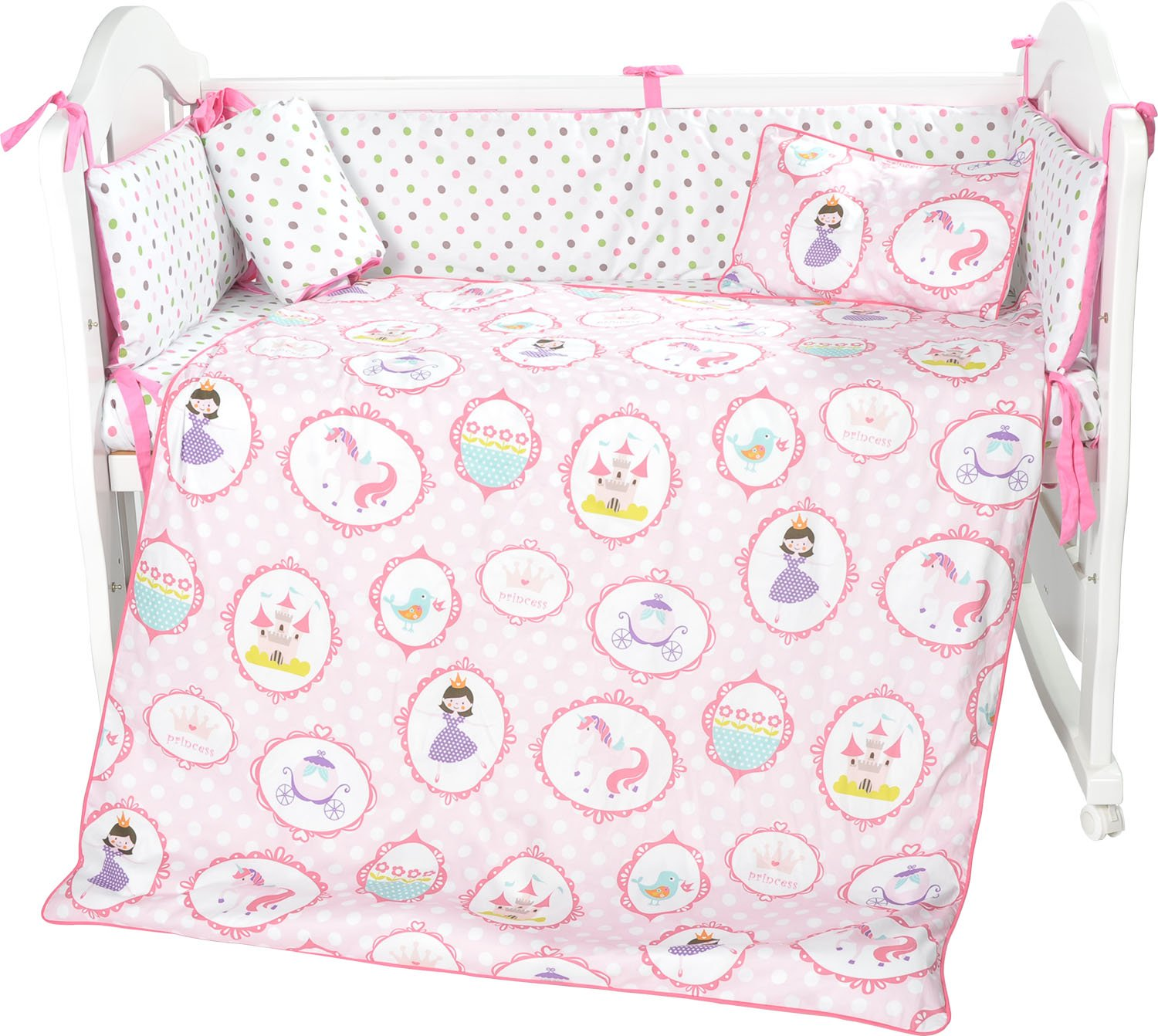 i-baby 5 Piece Crib Bedding Set Nursery Baby Bedding Set 100% Cotton Printed Sheet Duvet Pillow Bumper Cot Sets for Boys or Girls