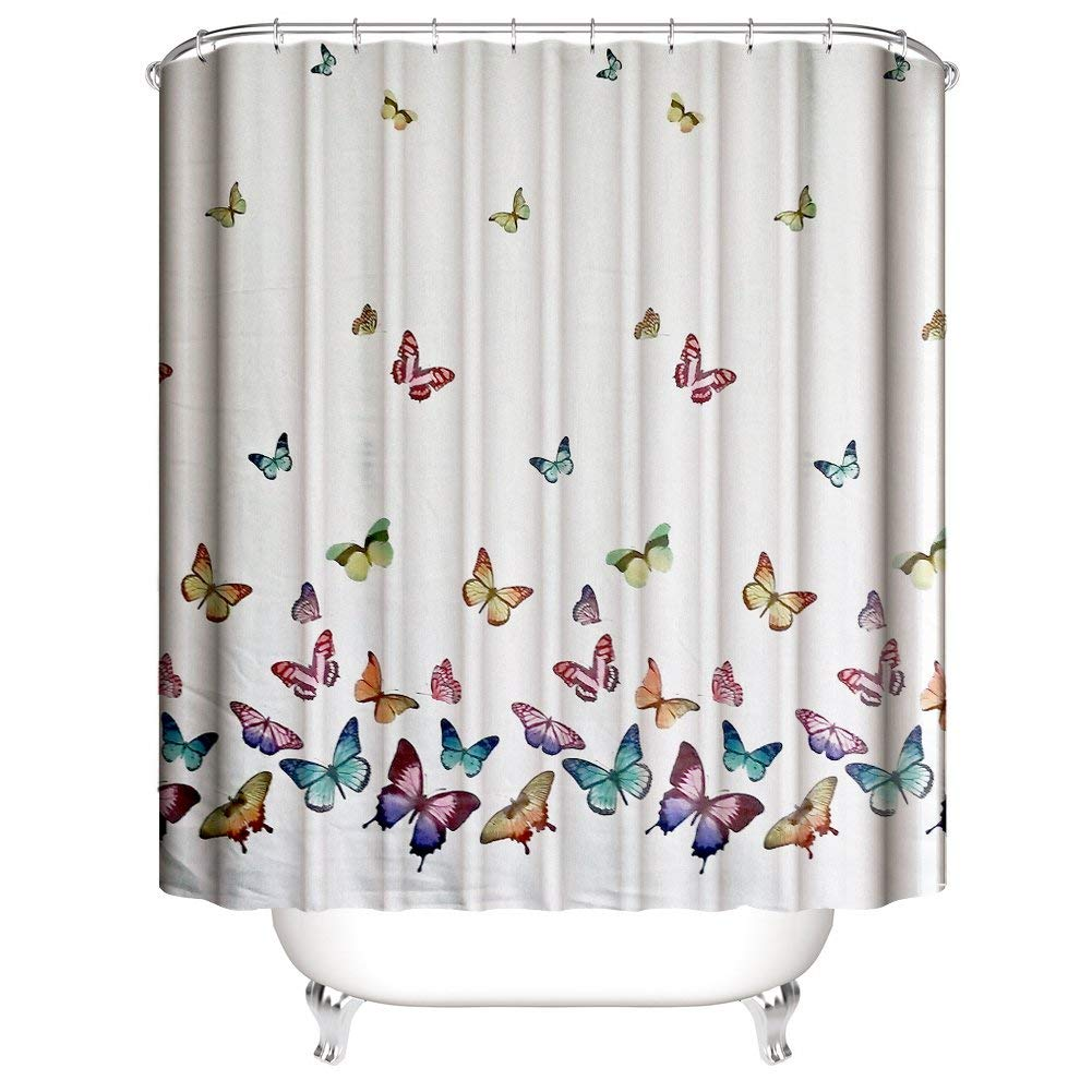 Get Quotations Muuyi Spring Summer Butterflies Shower Curtain Set Polyester Fabric Waterproof Curtains For Bathroom With