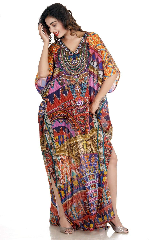 d78442a6c8 Get Quotations · Beach kaftan dress for woman beaded/beach wear/one piece  jeweled full length kaftan