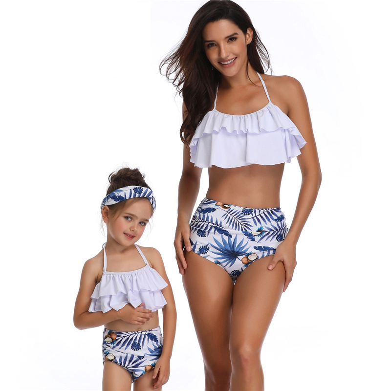 6ca0be02e3845b 2 Pcs Mama en Me Bijpassende Familie Badpak Ruche Vrouwen Badmode Kids  Kinderen Peuter Bikini Badpak