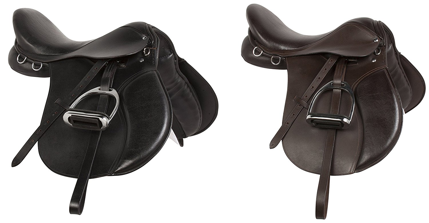 ENGLISH JUMPING ALL PURPOSE BLACK BROWN LEATHER HORSE SADDLE TACK PACKAGE STIRRUPS IRONS CLOSE CONTACT