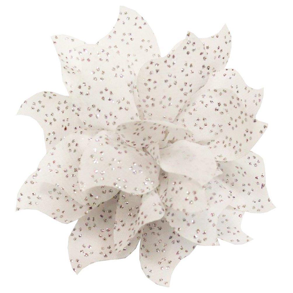 WD2U Chiffon Swirl Flower Alligator Hair Bow or Scarf Brooch Clip White 1211