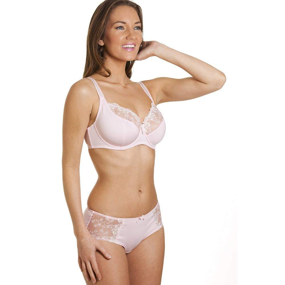 bc7a4a530b Camille Womens Ladies Pin Dot Pink Underwired Non Padded Soft Cup Bra
