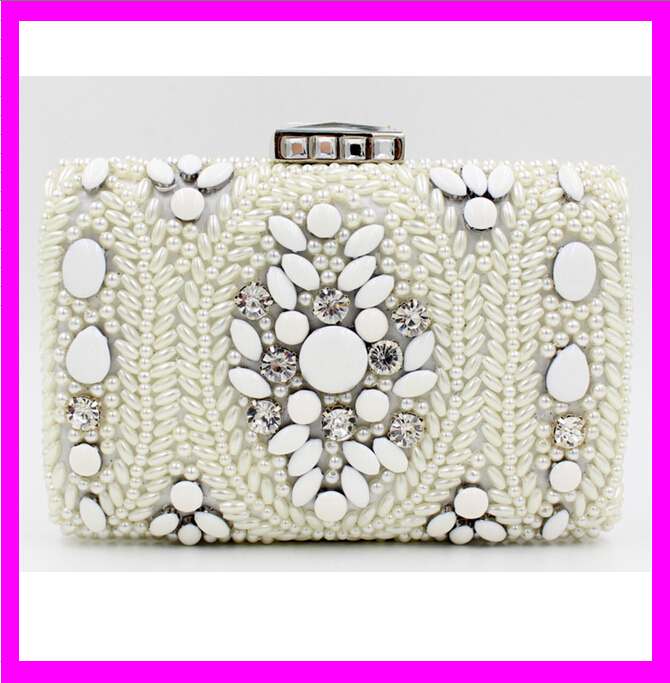 KD6121 factory supply india women pearl beads clutch bag