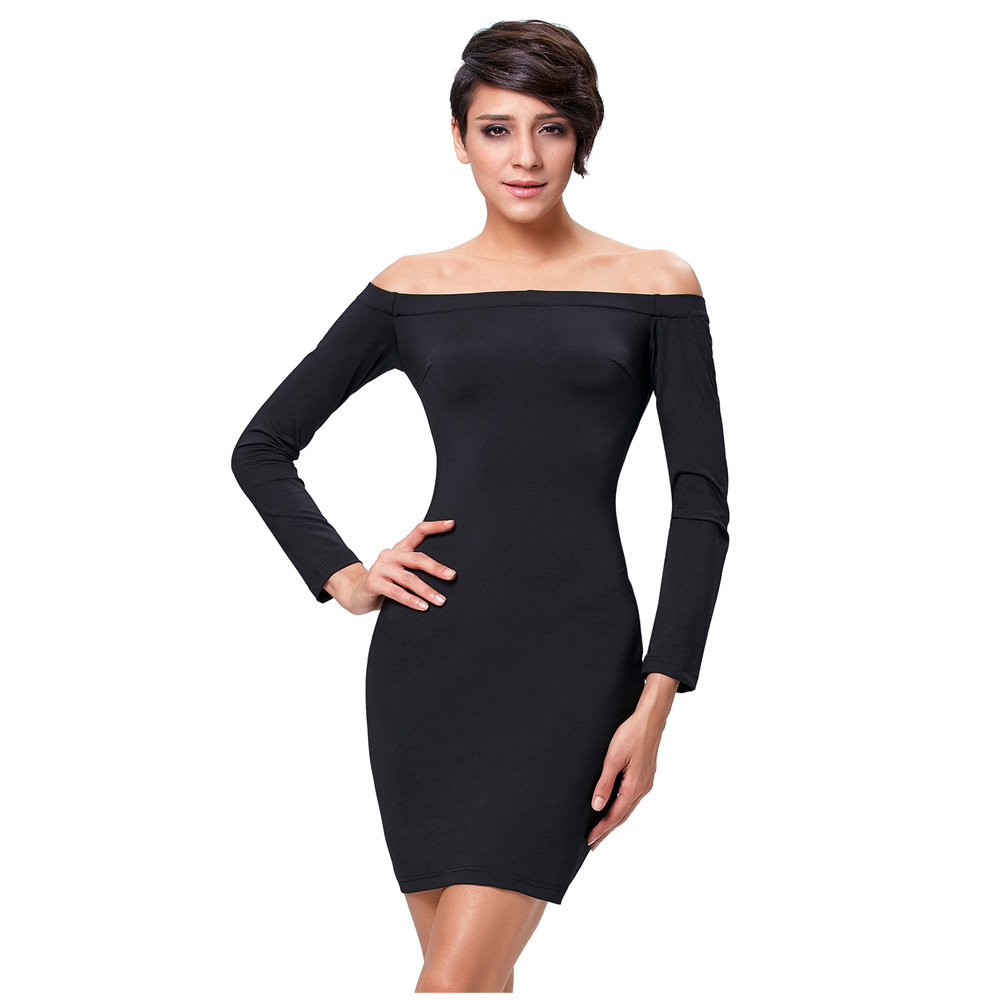 0998c048e74 Kate Kasin Sexy Women's Solid Color Long Sleeve Black Off Shoulder Dress  KK000224-1