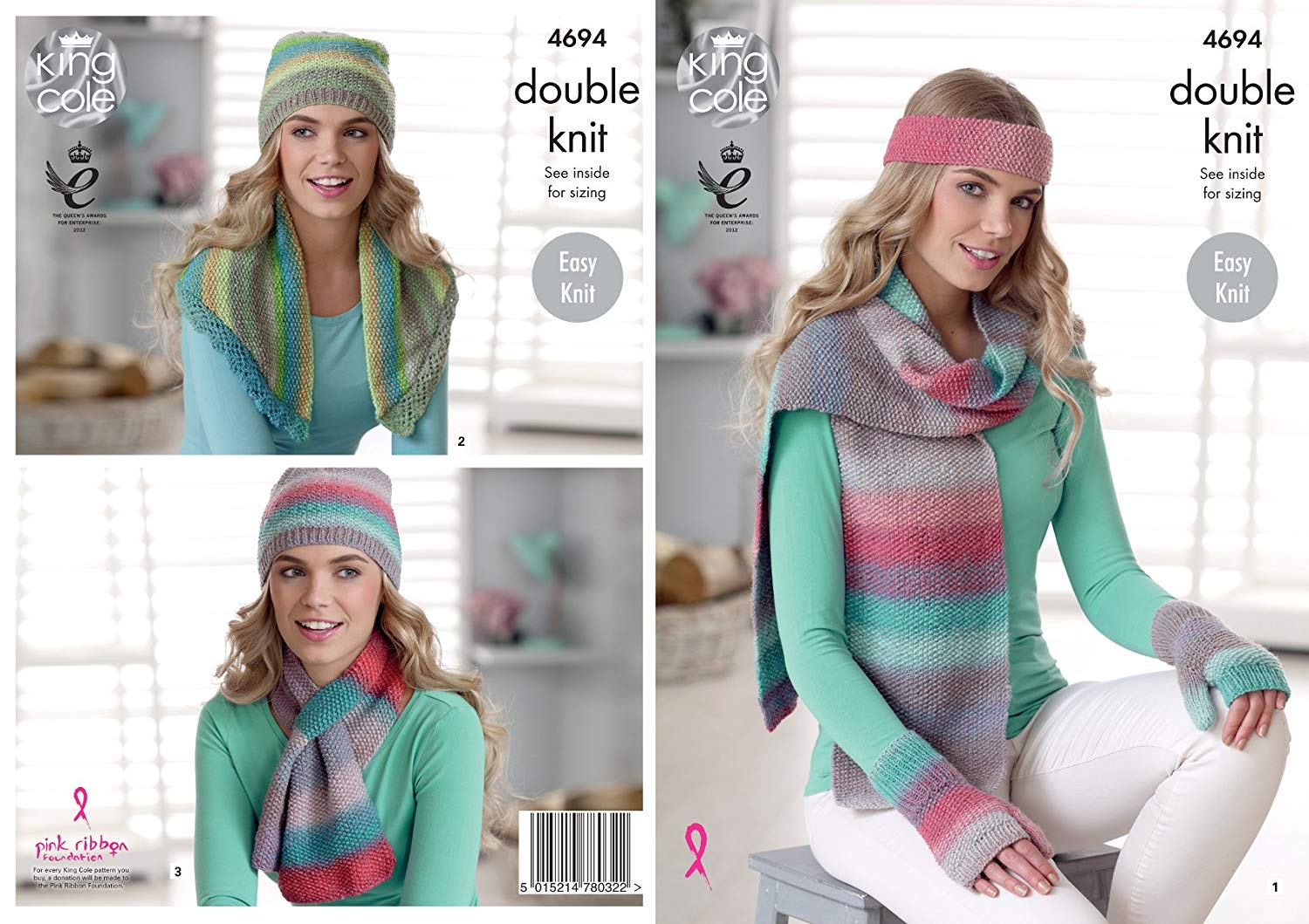 King Cole Ladies Double Knitting Pattern Ribbed Round or V Neck Sweaters 5026