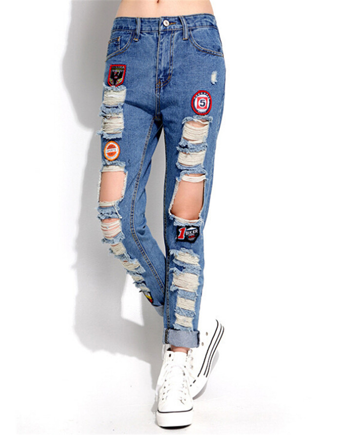 Buy 2015 New Womens Ripped Jeans With Patches 100% Cotton Dark ...