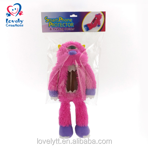 "8"" Wholesale Pink Plush Stuffed Monster Mobile Phone Protect Accessory"