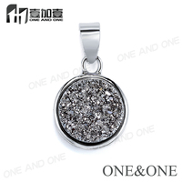 2017 Gold Pendant Designs Men Natural Druzy Clusters Round 8mm Pendants Silver Jewelry Wholesale