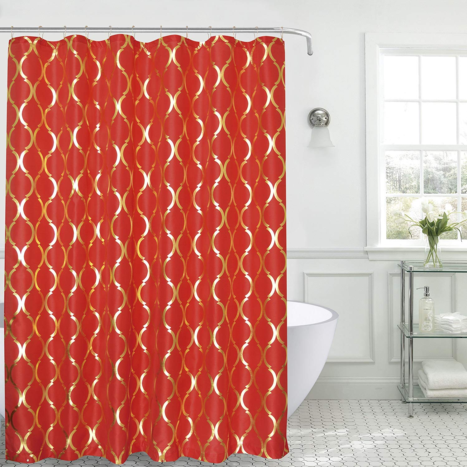 Get Quotations SALLY TEXTILES Regina Shower Curtain Faux Silk Red Gold