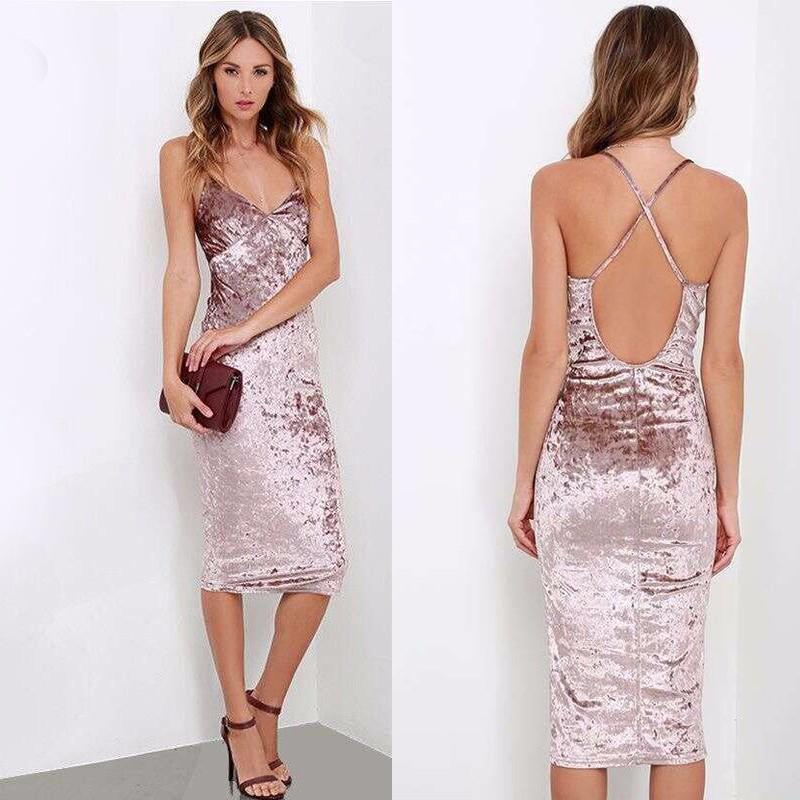 cfd588bcb35a BEFORW New Velvet Dress Fashion Spring Summer Dresses Sexy Halter ...