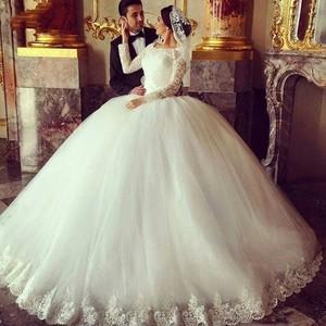 On121 Vestido De Noiva Vintage Lace Long Sleeve Muslim Wedding Dresses 2017 Elegant Tulle Appliques Ball Gown Wedding Dress