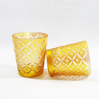 Customized hand carving star design glass candle containers