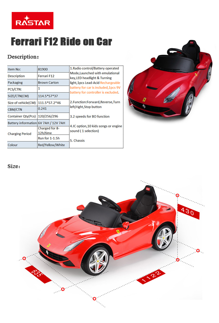 Ferrari Car Model Rastar Baby Licensed Ride On Electric Toy Cars For Kids  To Drive