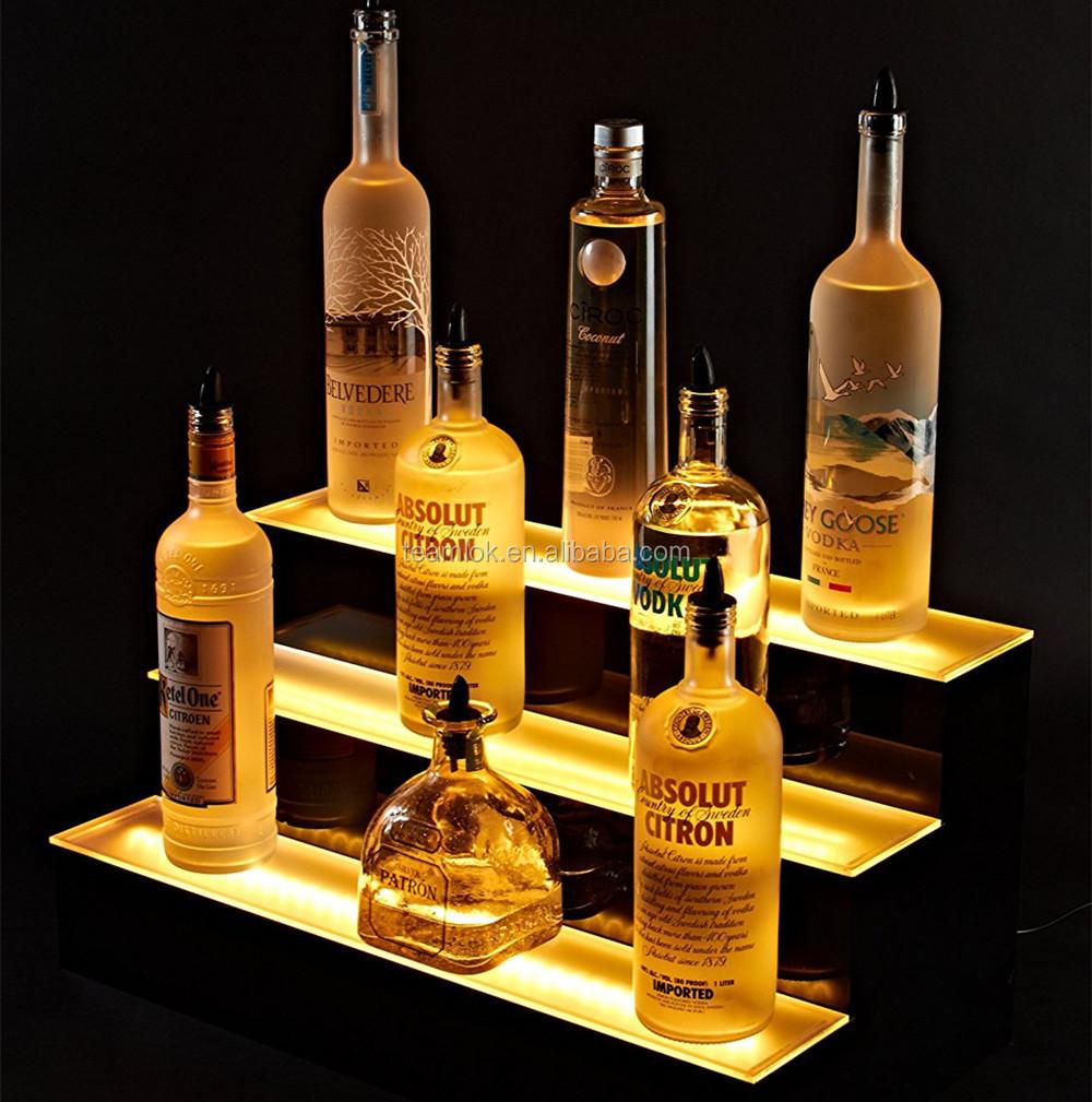 3 Tier Led Bar Shelves Lighted Led Liquor Bottle Display Floating Color  Changing Home Bar Shelves Remote 16/24/36/48 Inch - Buy Led Bar Shelves,3  Tier