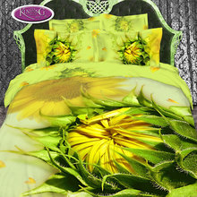 Factory direct price custom flower hand made 100 % cotton photo print wedding bed sheet set