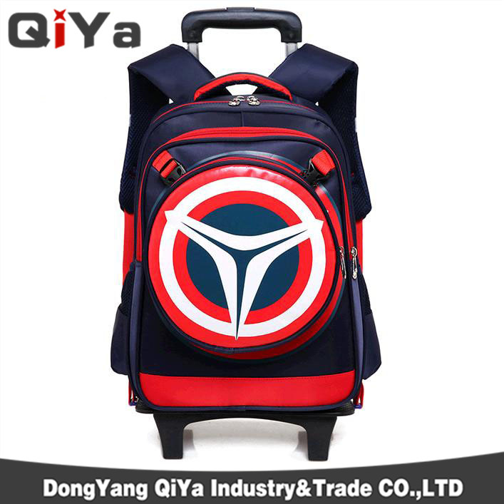 School Trolley Bags Captain America Backpack Wheeled Children School Bag