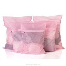 Mesh Laundry Bags Set of 5 Exquisite Candy-colored Zipper Pink Fine-Structure Mesh Square Mesh Laundry Bags
