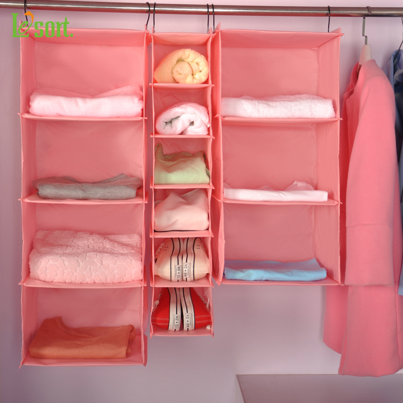 Lesort Home Hanging Clothes Storage Box Muti Shelving Units Durable Organizing Shelves Eco Friendly Closet Cubby Sweater In Organizers From