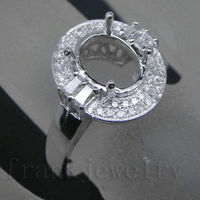 Vintage Engagement Oval 7x9mm Solid 14kt Gold Diamond Semi Mount Ring Wholesale Manufacture Jewelry For Sales BAB1435