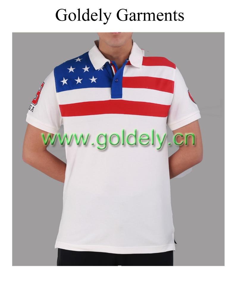 baae96db America Flag Embroidery White Men Polo Shirts - Buy Flag ...