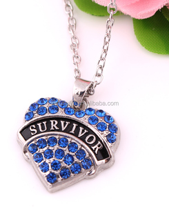 Hot Sale Wholesale Custom Letters Survivor Pave Crystal Necklace Inspirational Jewelry