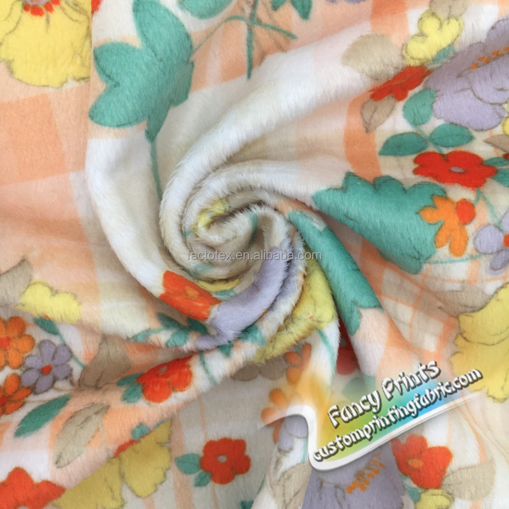 2017 Wholesale digital printing brushed poly cotton knit fabric