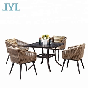 Elegant Aluminum Rattan Outdoor Garden Furniture Dining Table Set