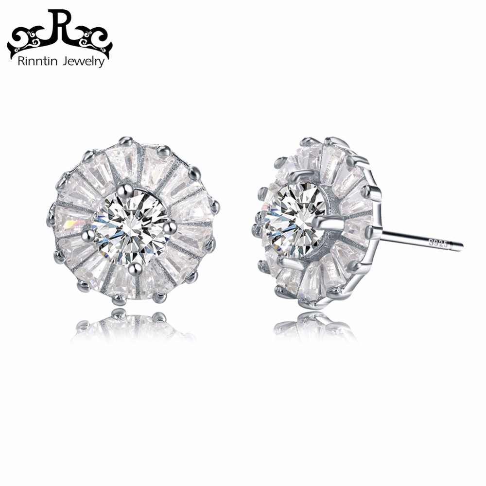Rinntin 2017 Wholesale Fashion Jewelry Earrings Sterling Silver 925 Stamped Ear Piercing CZ Fine Jewelry RISE27