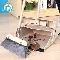 BOOMJOY 040-1/J wind-proof PET plastic 180 rotation easy foldable aluminum broom and dustpan set