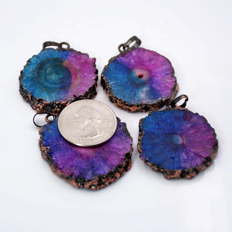 Quartz crystal flower pendant Solar quartz pendant