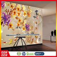 goldfish with flower chinese design 3D murals wallpaper HD fashion wall paper for living room