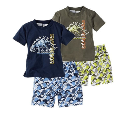 Free shipping Baby kids Summer Fall Beach suit Boys Dinosaur T Shirt Pants Shorts Outfit Sets