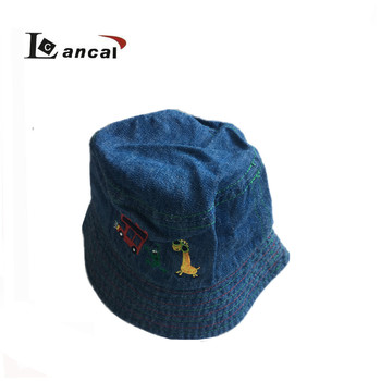 2018 New style custom funny denim embroidered kids fishermen bucket hat 6c8dd63af93f