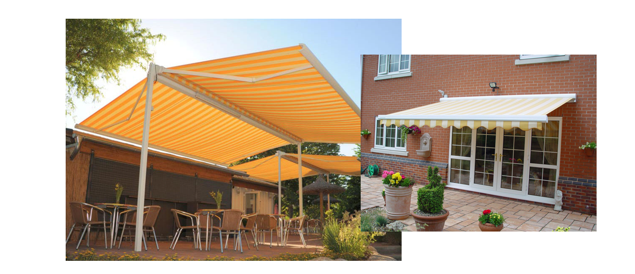 Cassette drop arm awnings with CE